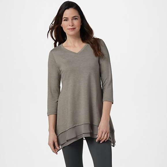 LOGO by Lori Goldstein Tops - LOGO Lounge French Terry Top with Chiffon Trim